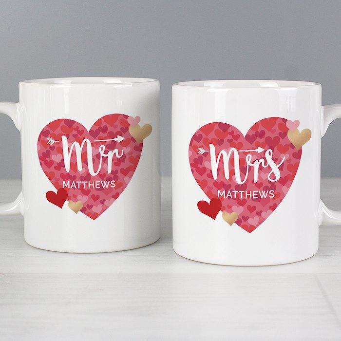 Mr and Mrs Valentine's Day Confetti Hearts Mug Set