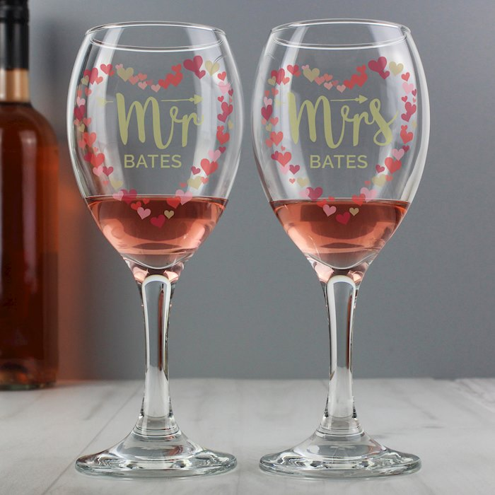 Mr and Mrs Valentine's Day Confetti Hearts Pair of Wine Glasses