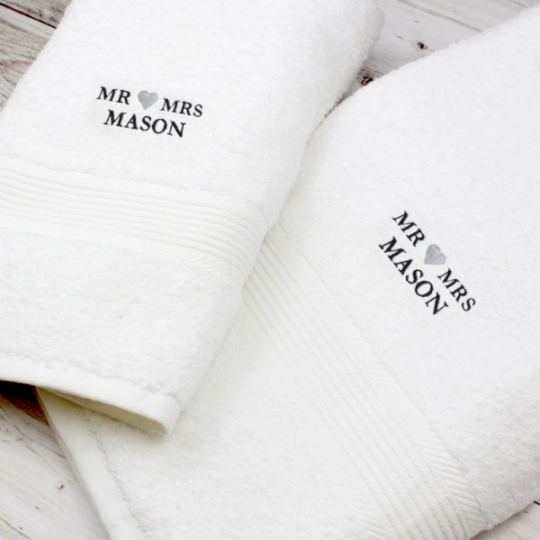 Mr & Mrs White Hand and Bath Towel Set