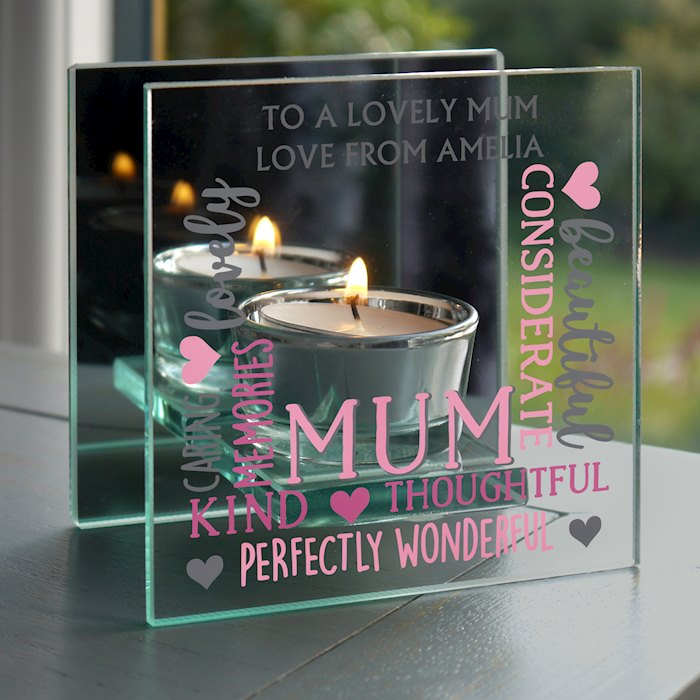Mum Mirrored Glass Tea Light Holder