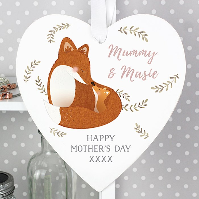 Mummy and Me Fox 22cm Large Wooden Heart Decoration