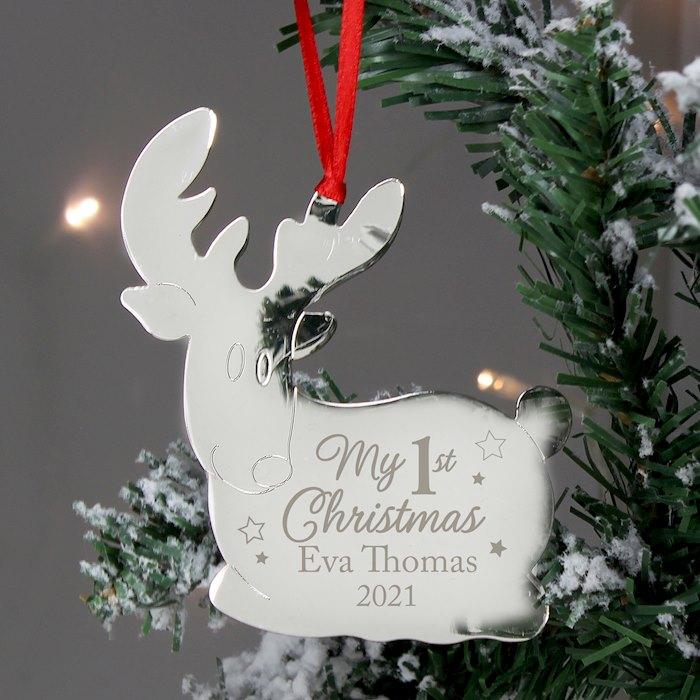 My 1st Christmas Reindeer Metal Decoration
