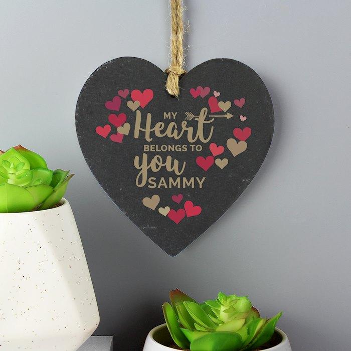'My Heart Belongs To You' Confetti Hearts Printed Slate Heart Decoration