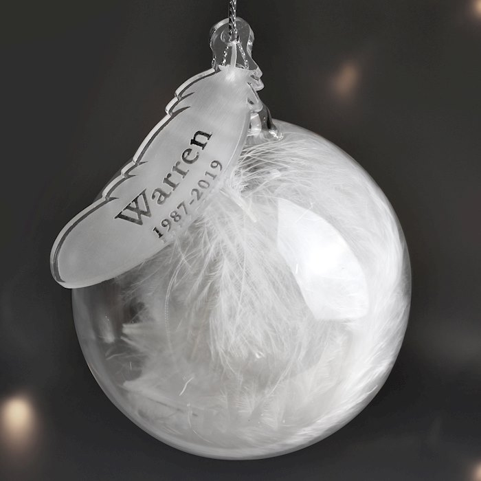 Name & Date Feather Glass Bauble