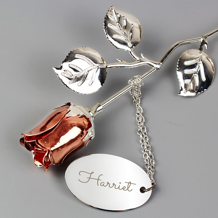 Name Silver Plated Rose Gold Rose Bud Ornament