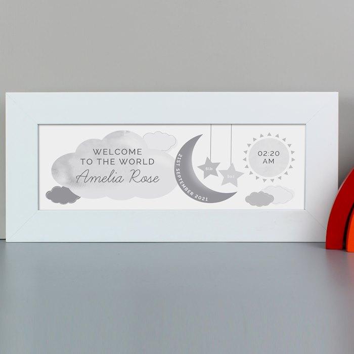 New Baby Moon & Stars Name Frame