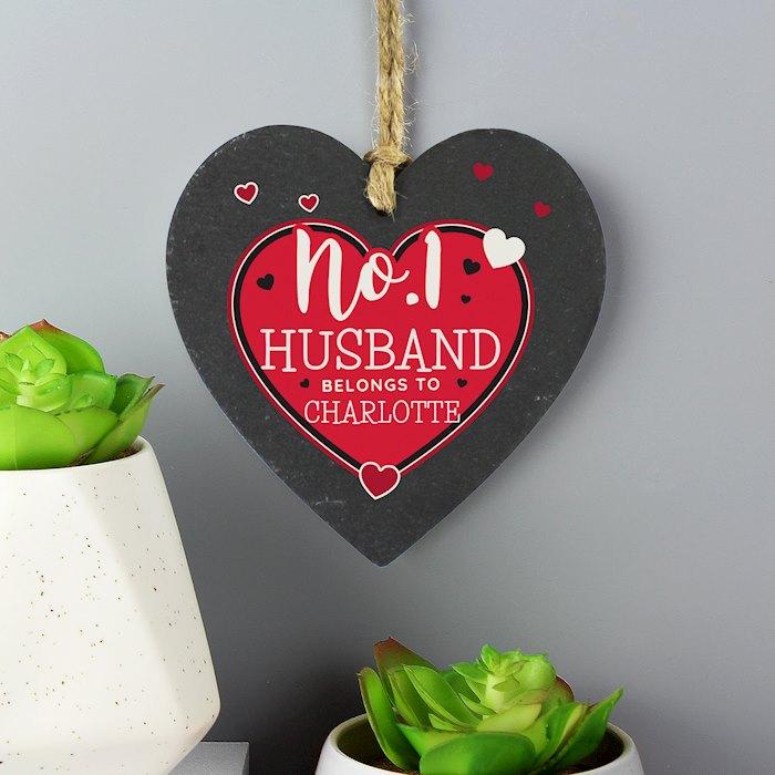 No.1 Belongs To Printed Slate Heart Decoration