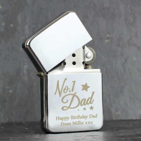 'No.1 Dad' Silver Lighter