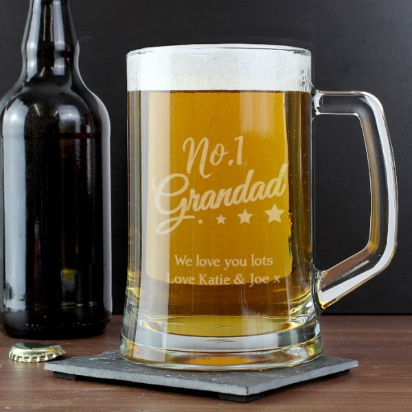 'No.1 Grandad' Glass Pint Stern Tankard