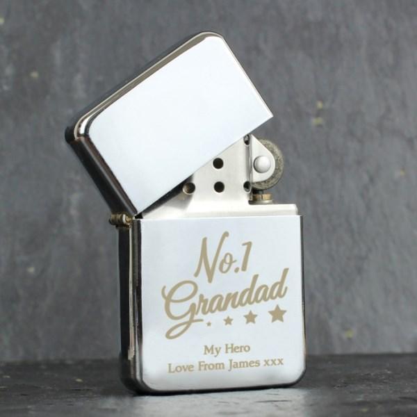 'No.1 Grandad' Silver Lighter