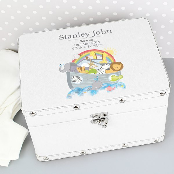 Noah's Ark White Leatherette Keepsake Box