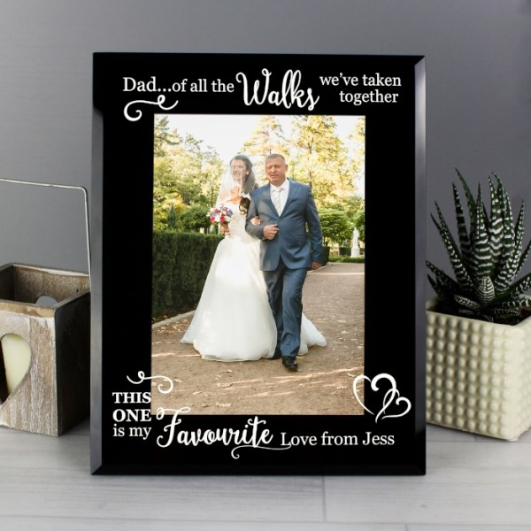 'Of All the Walks...' Wedding 5x7 Black Glass Photo Frame