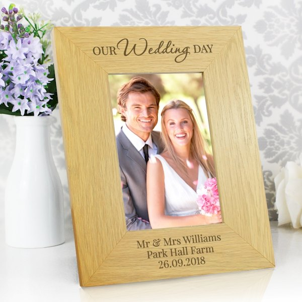 'Our Wedding Day' Oak Finish 4x6 Photo Frame