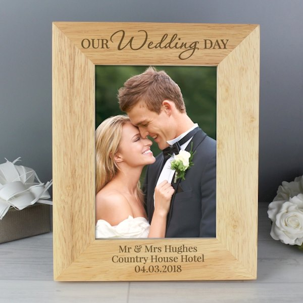 'Our Wedding Day' Wooden 5x7 Photo Frame