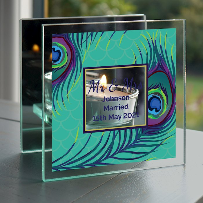 Peacock Mirrored Glass Tea Light Candle Holder