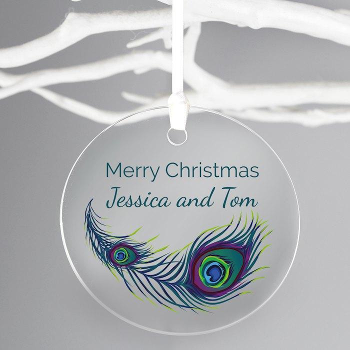Peacock Round Acrylic Decoration