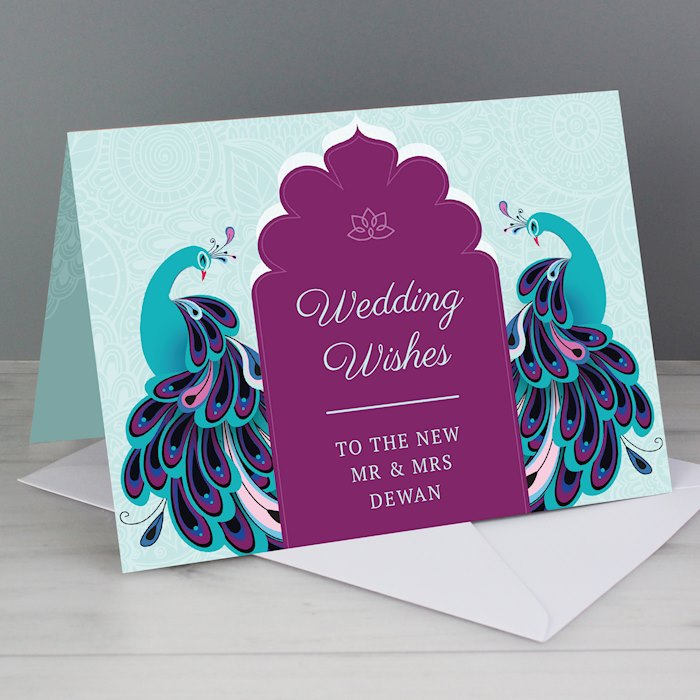 Peacock Wedding Card
