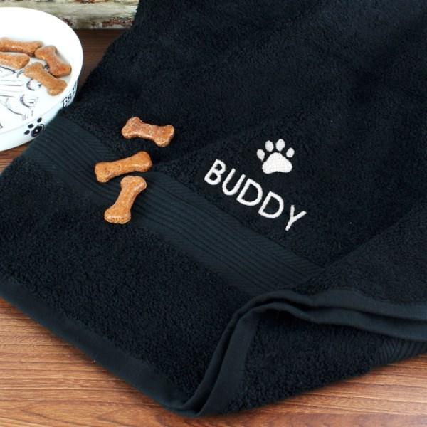 Pet Paw Black Bath Towel