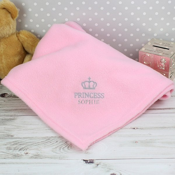 Pink Crown Baby Blanket