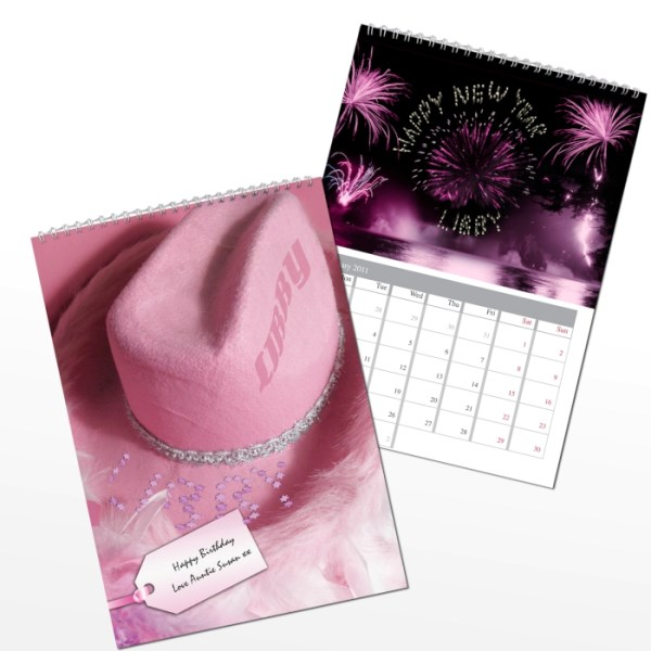 Personalised Pink Girls A4 Wall Calendar