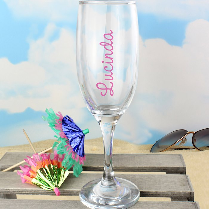 Pink Name Island Flute Glass