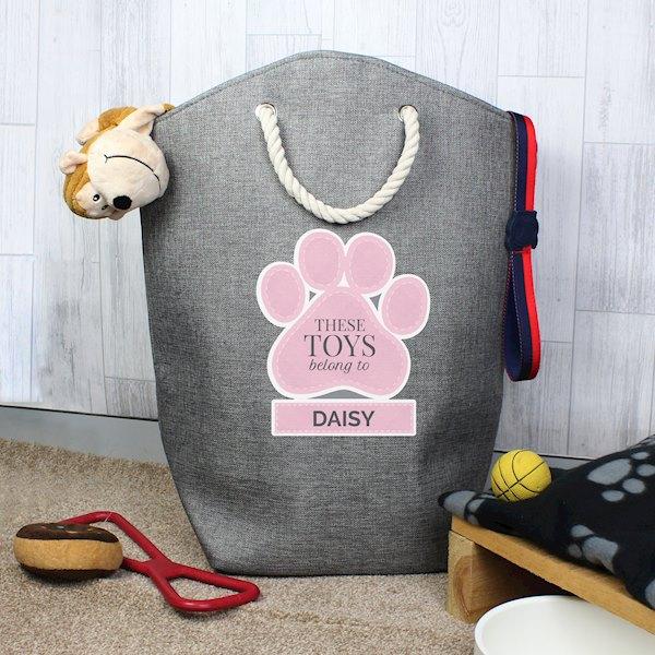 Pink Paw Print Storage Bag