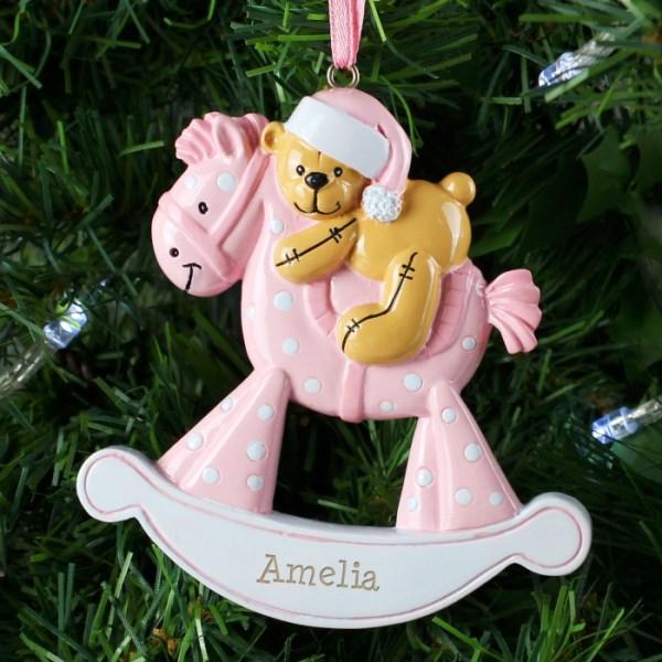 Pink Rocking Horse Resin Decoration