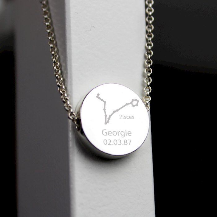 Pisces Zodiac Star Sign Silver Tone Necklace (February 19th - March 20th)