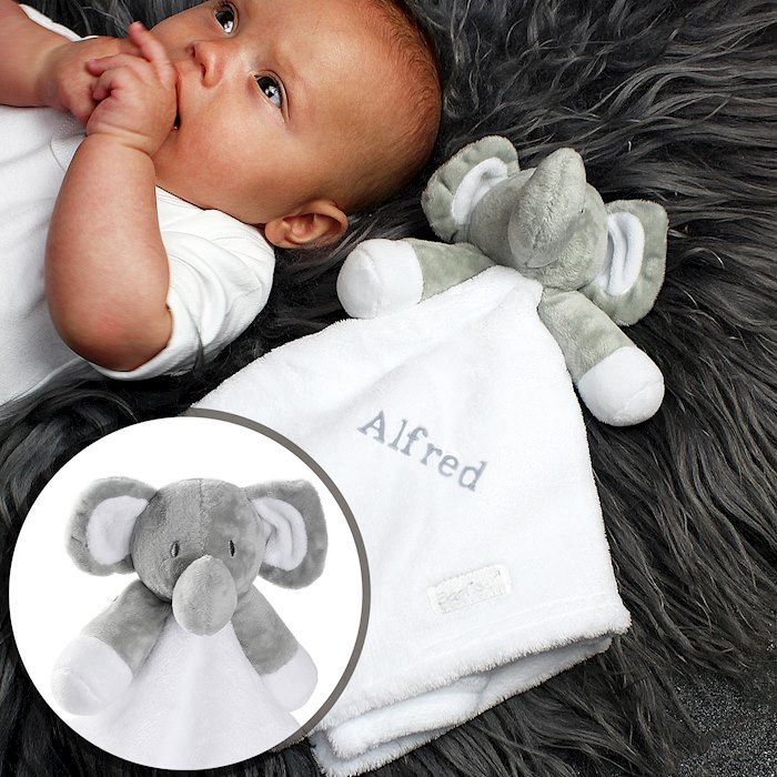 Plush Grey Elephant and White Comforter for Baby