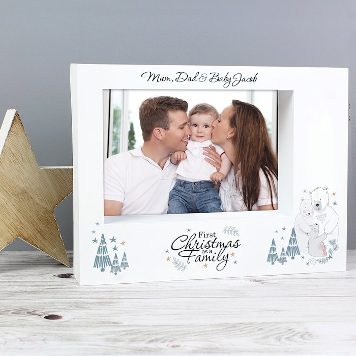 Polar Bear '1st Christmas As A Family' 7x5 Box Photo Frame