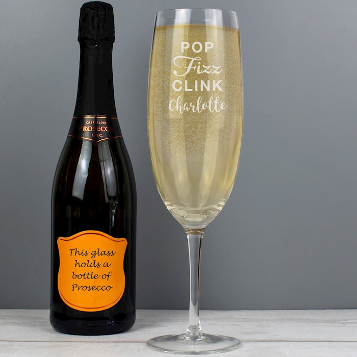 'Pop Fizz Clink' Bottle Of Prosecco Glass