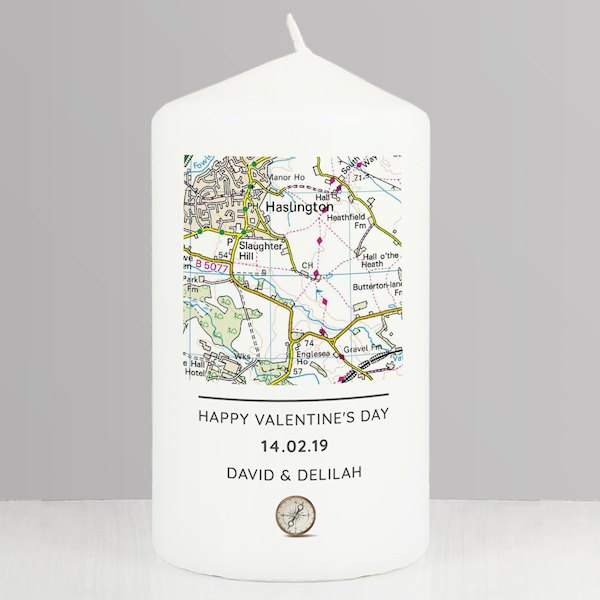 Present Day Map Compass Pillar Candle