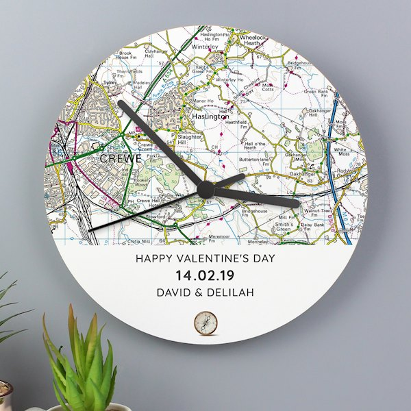 Present Day Map Compass Wooden Clock