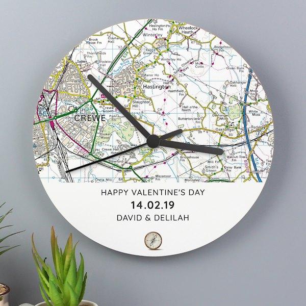 Present Day Map Compass Wooden Clock