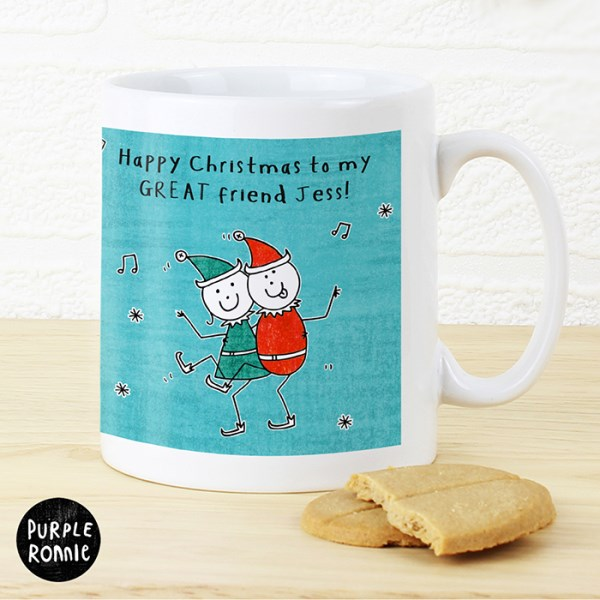 Personalised Purple Ronnie Christmas Elves Blue Mug