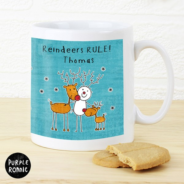 Personalised Purple Ronnie Reindeers Mug