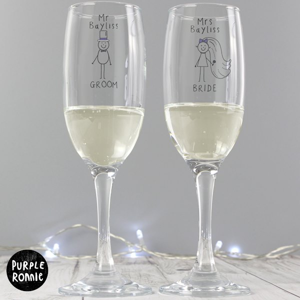 Personalised Purple Ronnie Wedding Mr & Mrs Pair of Flutes with Gift Box