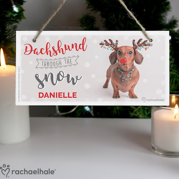 Rachael Hale Christmas Dachshund Through the Snow Wooden Sign