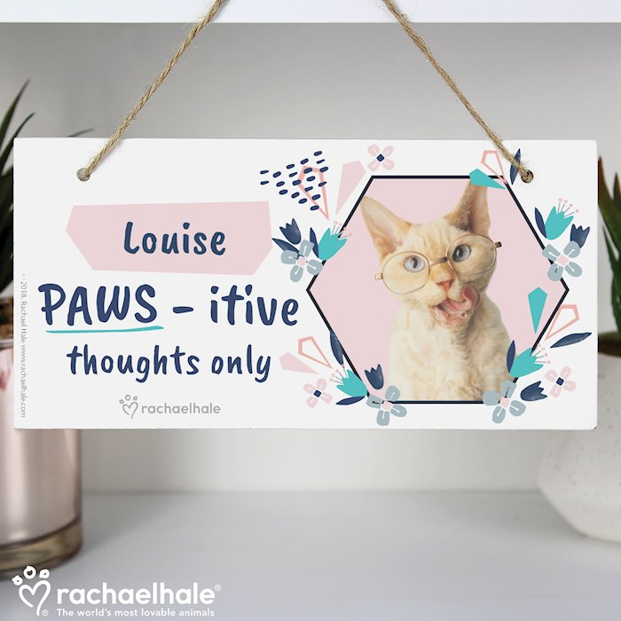 Rachael Hale 'PAWS - itive Thoughts Only' Cat Wooden Sign