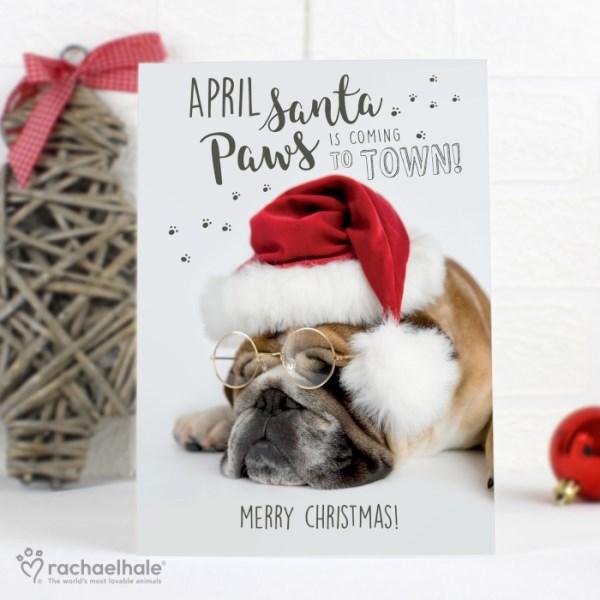 Rachael Hale Santa Paws Christmas Bulldog Card