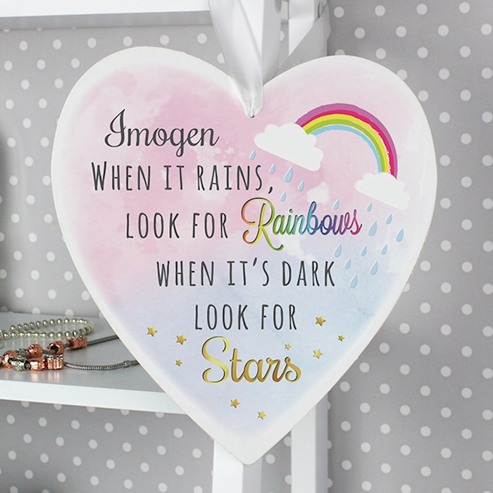Rainbows and Stars 22cm Large Wooden Heart Decoration