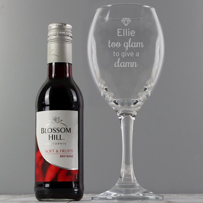 Red Wine & 'Too Glam to Give a Damn' Wine Glass Set
