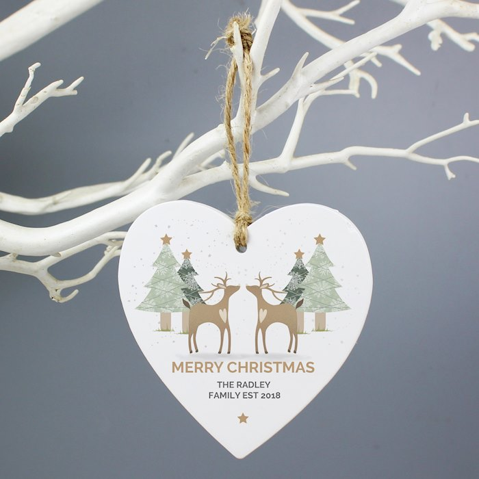 Reindeer Couple Wooden Heart Decoration