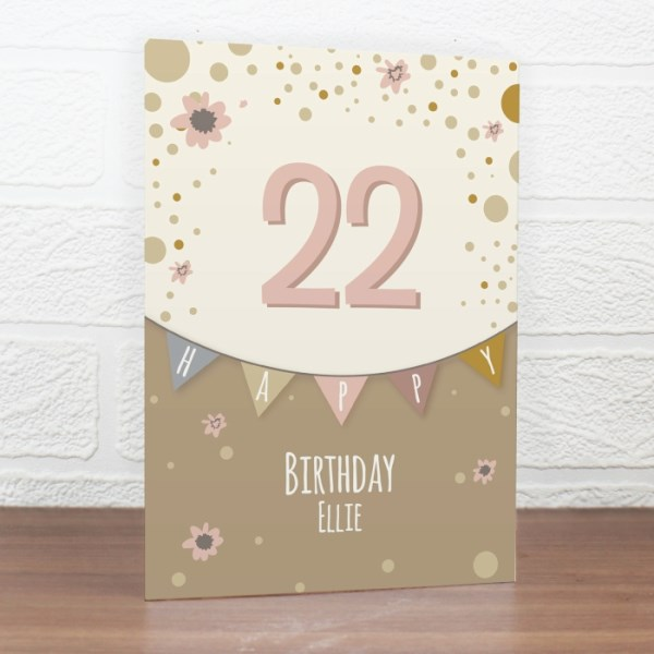 Rose Gold Bunting Card