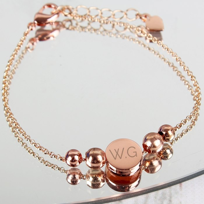 Rose Gold Plated Initials Disc Bracelet