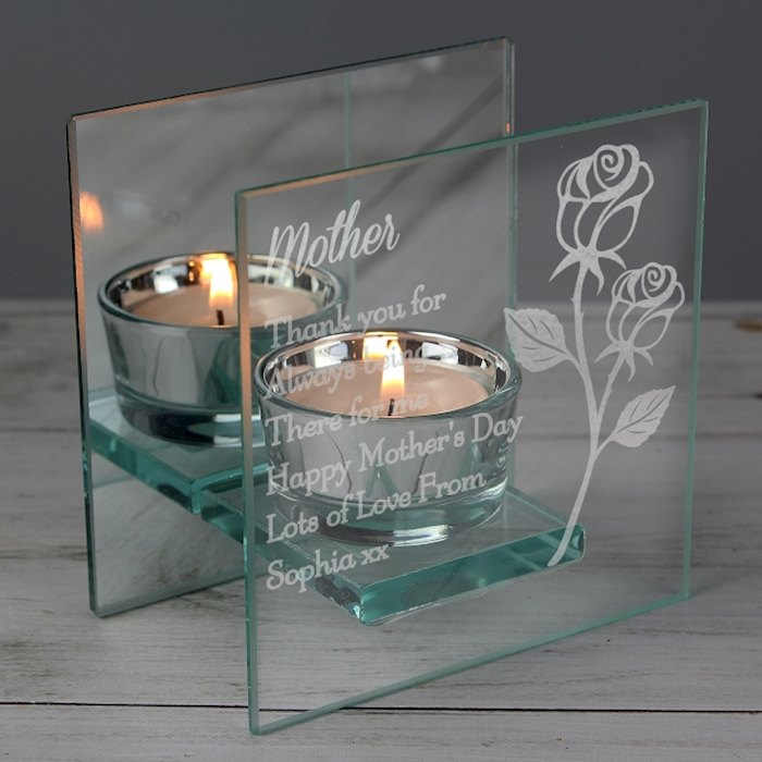 Rose Mirrored Glass Tea Light Holder