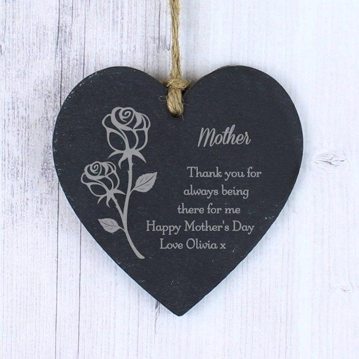 Rose Slate Heart Decoration