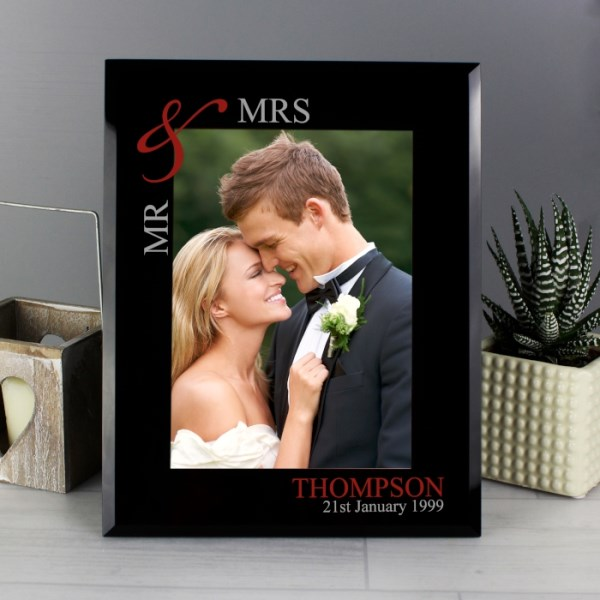 Ruby Couples 5x7 Black Glass Photo Frame