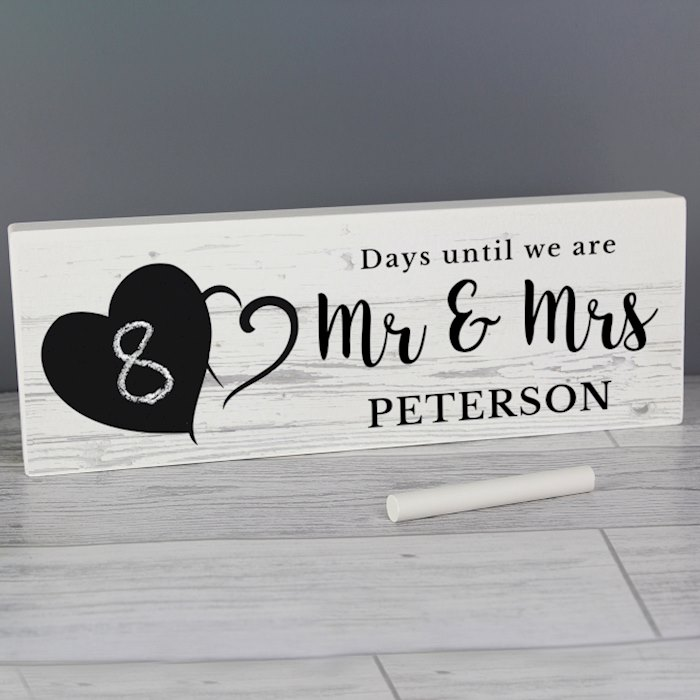 Rustic Chalk Countdown Wooden Block Sign