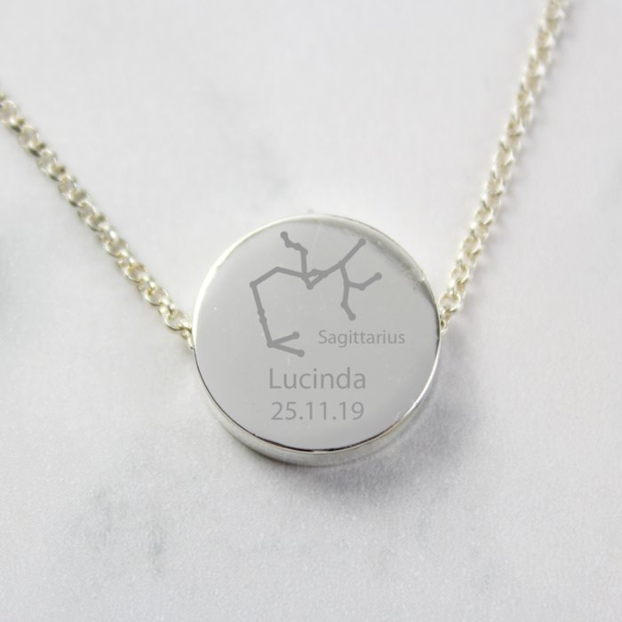 Sagittarius Zodiac Star Sign Silver Tone Necklace (November 22nd - December 21st)